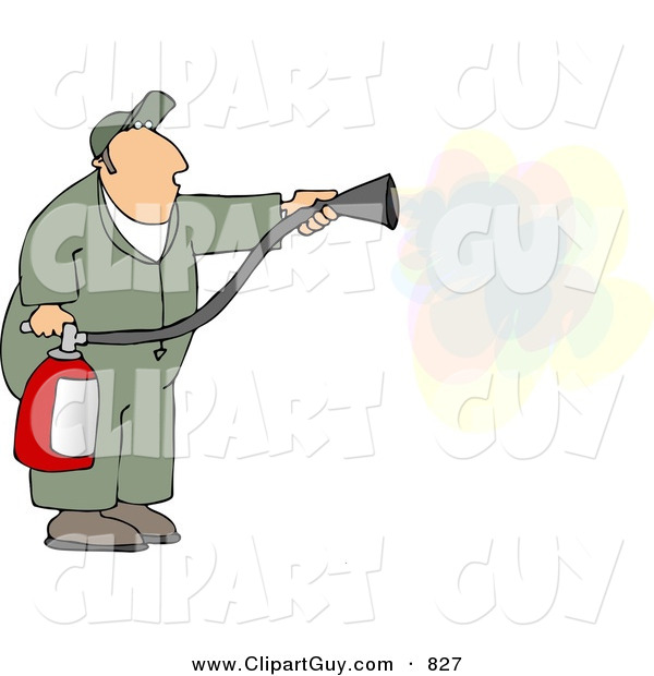 Clip Art of a White Repairman Spraying Fire Extinguisher on a Fire