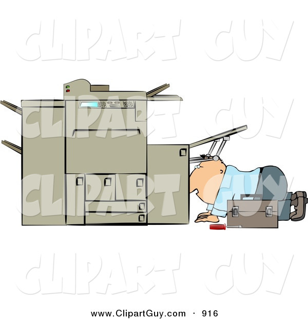 Clip Art of a White Repairman Trying to Fix a Broken Copy Machine