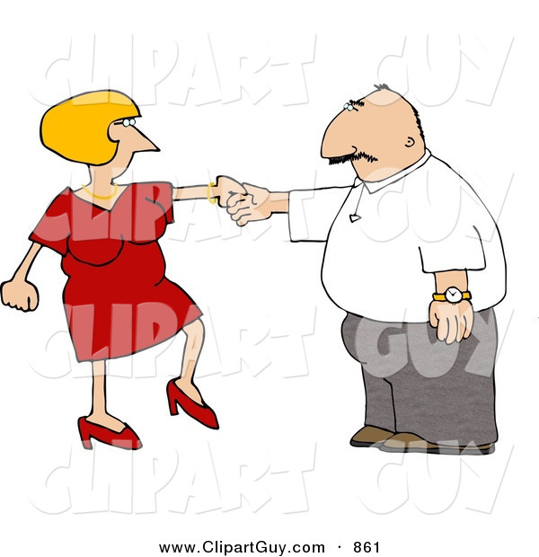 Clip Art of a White Wife Trying to Get Her Husband to Dance