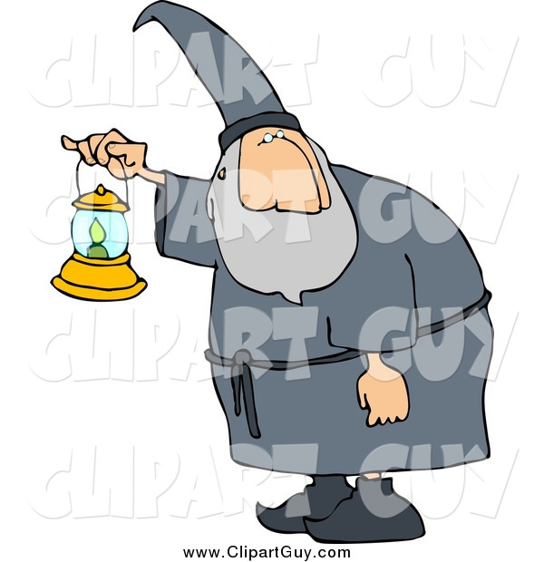 Clip Art of a Wizard Walking Around at Night with a Lit Lantern