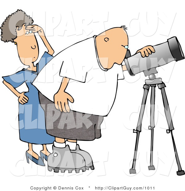 Clip Art of a Woman Standing Behind Her Husband, the Astronomer, Looking Through a Telescope