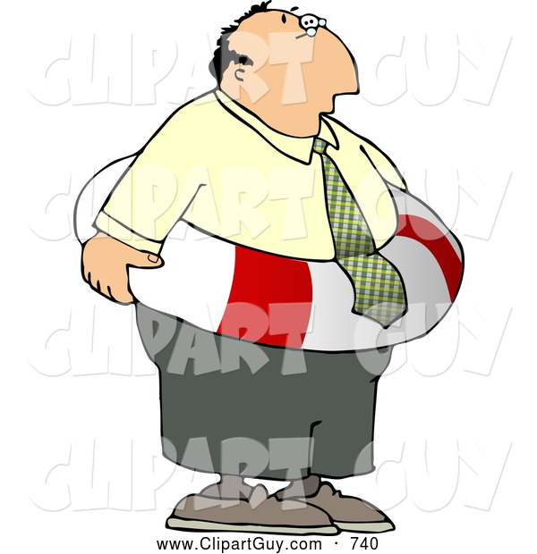 Clip Art of a Worried White Businessman Wearing a Life Preserver Float Tube Around His Waist