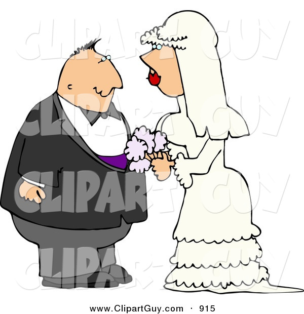 Clip Art of a Young White Man and Woman Looking at Each Other Before Getting Married