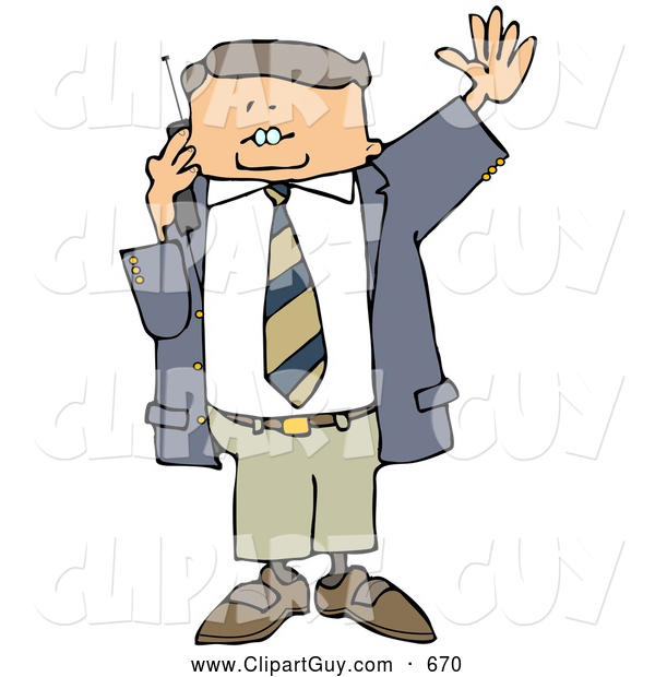 Clip Art of ABoring Business Man Talking on a Cellphone and Waving at Someone