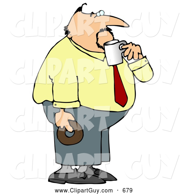 Clip Art of ABoring Obese Businessman on His Coffee & Donut Break
