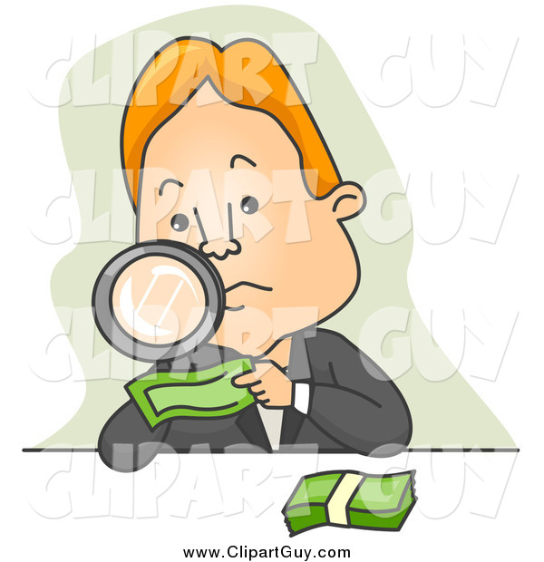 Clip Art of ABusinessman Inspecting Money