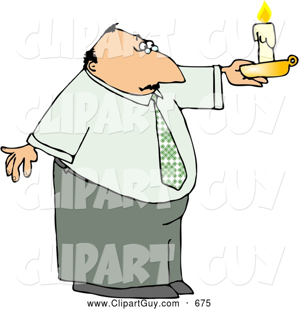 Clip Art of ACaucasian Business Man Holding a Lit Candle During a Power Outage