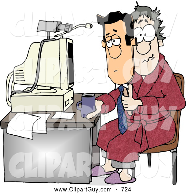 Clip Art of ACaucasian Businessman Working at His Home Office Today