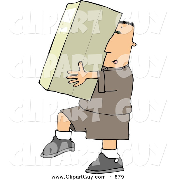 Clip Art of ACaucasian Delivery Man Carrying a Big Package/Box