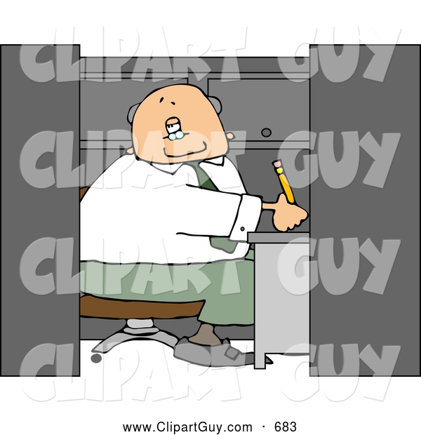 Clip Art of ACaucasian Elderly Businessman Working in a Small Office Cubicle