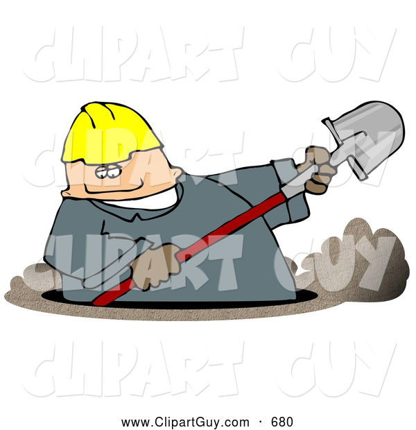 Clip Art of AChubby Caucasian Male Worker Digging a Deep Underground Hole with a Shovel