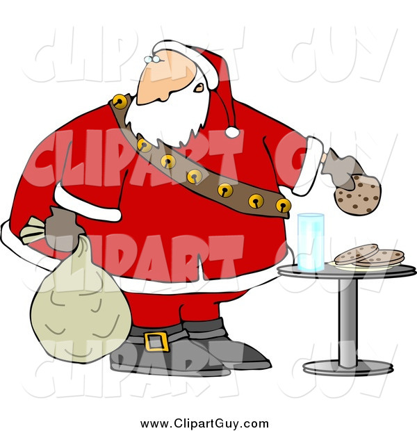 Clip Art of AChubby Santa Grabbing Chocolate Chip Cookie