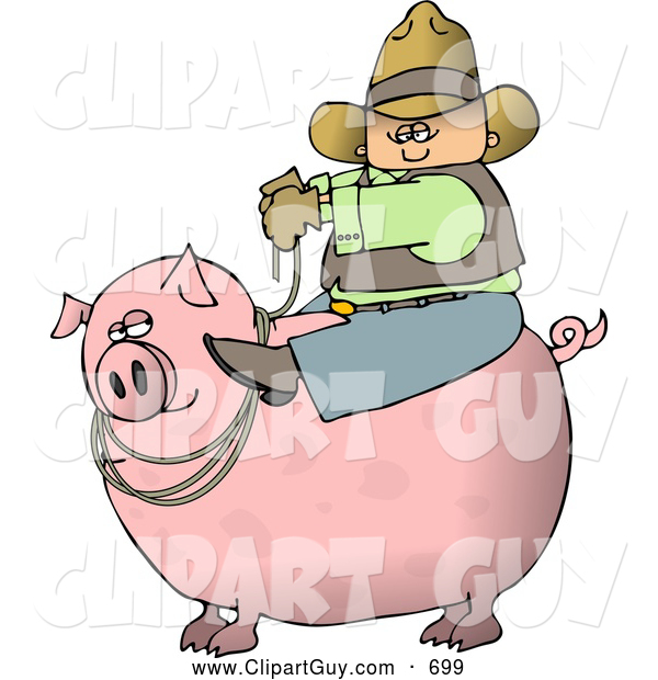 Clip Art of ACowboy Farmer Man Riding a Big Fat Pink Hog Pig