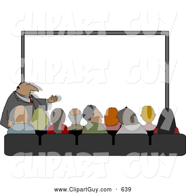 Clip Art of ACrowd of People Watching a Businessman Give His Projector PC Slideshow Presentation