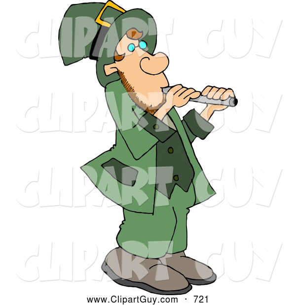 Clip Art of ACute Leprechaun Moving a Stack of Gold Coins with a Wheelbarrow