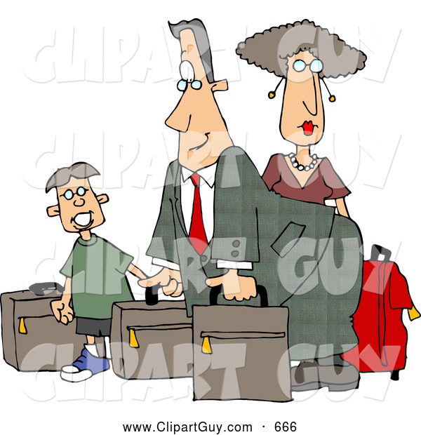 Clip Art of ADad, Mom, and Son Going on Vacation, Packed for Airlines