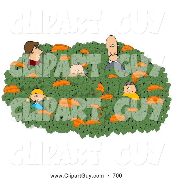 Clip Art of AFamily of Five Looking for That Perfect Halloween Pumpkin in a Farmer