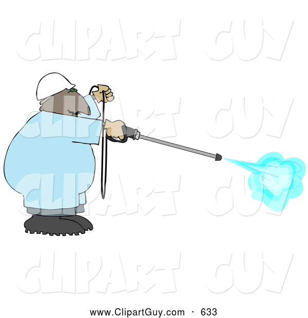 Clip Art of AFriendly African American Man Using a High Powered Water Pressure Washer