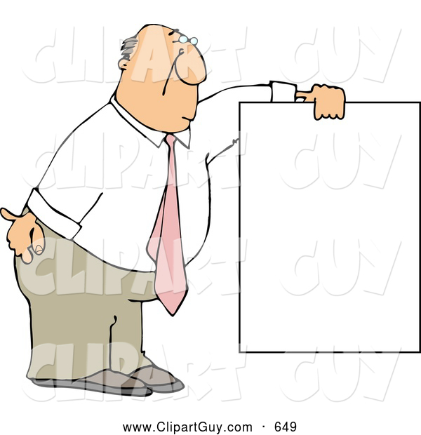 Clip Art of AFriendly Businessman Wearing a Pink Tie and Holding a Blank Sign