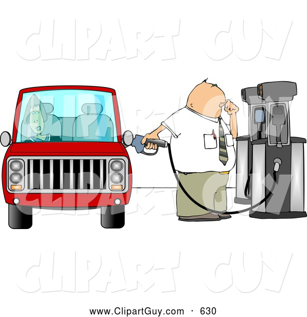 Clip Art of AFriendly Fuel Attendant Pumping Unleaded Gas into a Woman