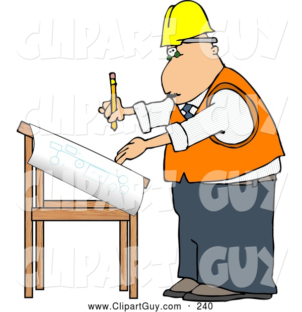 Clip Art of AFriendly Male Architectural Engineer Writing on a Blueprint with a Pencil