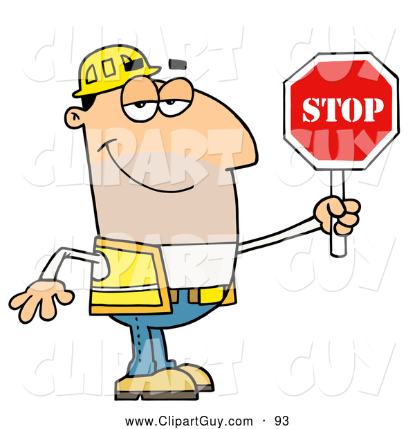 Clip Art of AFriendly Male Traffic Director Holding a Stop Sign