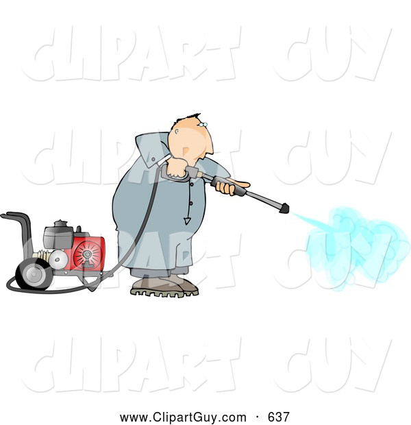 Clip Art of AFriendly Man Cleaning with a Heavy Duty Gas Powered Pressure Washer