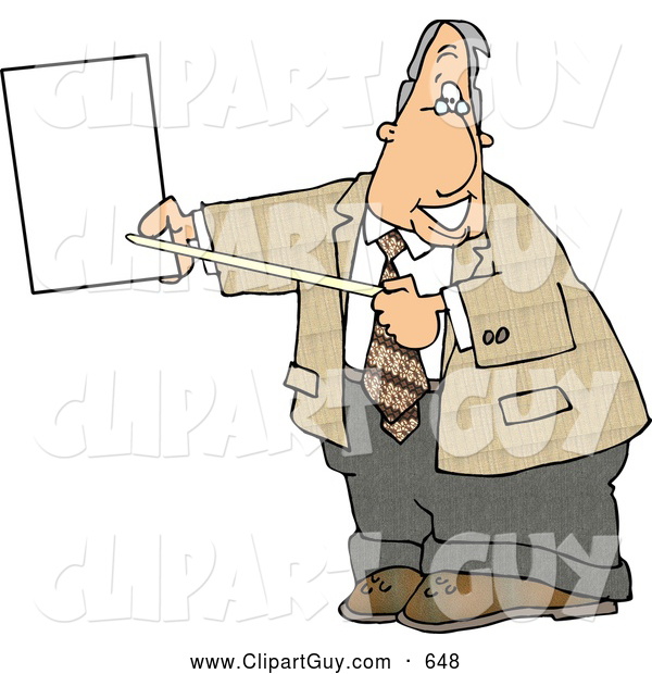 Clip Art of AFriendly Smiling Male Lawyer Pointing at an Important Blank Piece of Paper