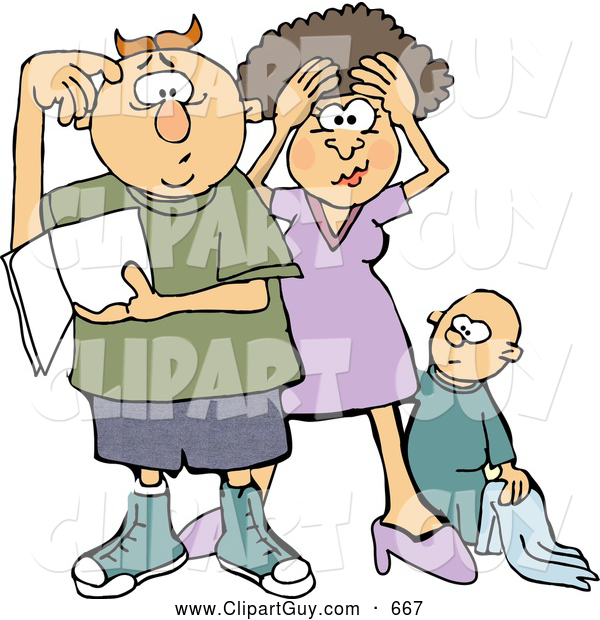 Clip Art of AFrustrated New Mom and Dad Trying to Figure out How to Raise a Baby Boy - Parenting Humor