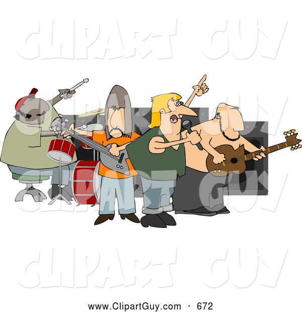 Clip Art of AGarage Rock Band Playing Music
