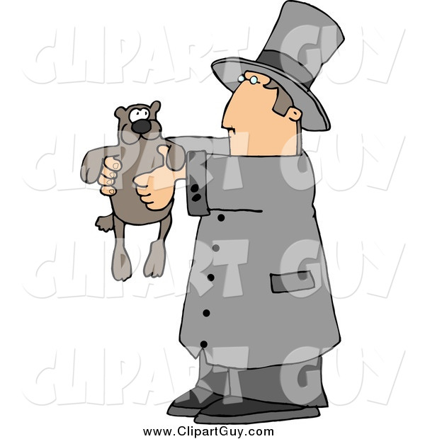 Clip Art of AGroundhog and Man