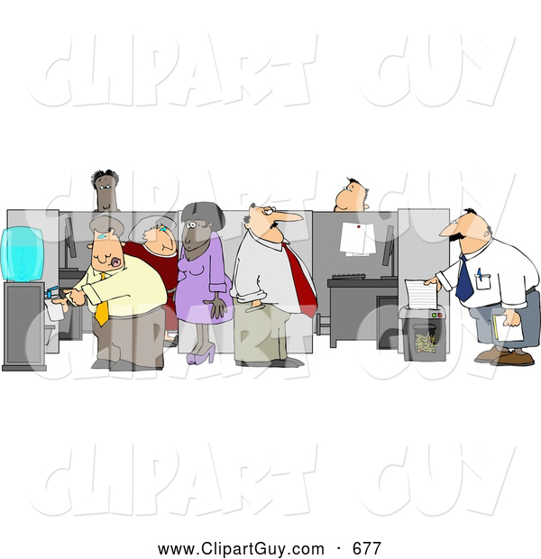 Clip Art of AGroup of Caucasian and African American Office Employees Doing Their Daily Routine