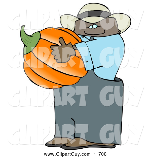 Clip Art of AHappy Ethnic Male Farmer Carrying a Pumpkin for Halloween
