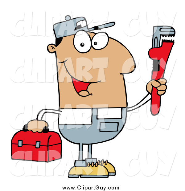 Clip Art of AHappy Hispanic Plumber Man Carrying a Wrench and Tool Box