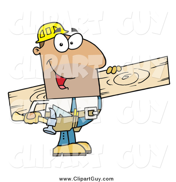Clip Art of AHispanic Construction Worker Carrying a Wood Board