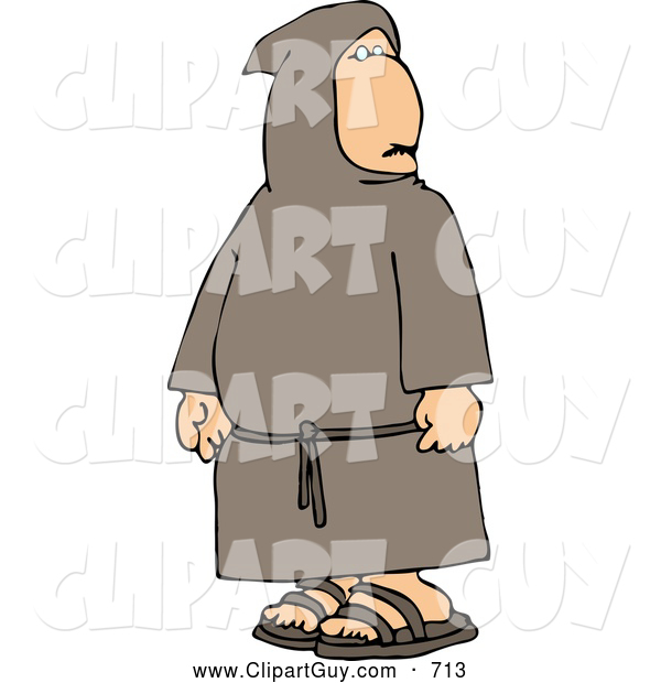 Clip Art of AHumble, Religious Buddhist Christian Monk
