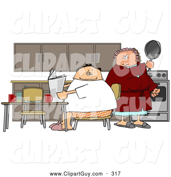 Clip Art of AMad Wife Preparing to Hit Her Lazy Husband with a Frying Pan