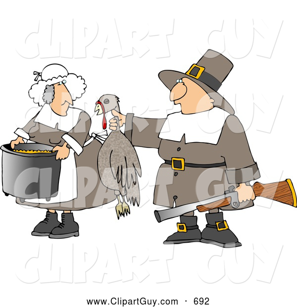 Clip Art of AMale Pilgrim Hunter Holding up a Dead Harvest Turkey for His Wife to Cook - Thanksgiving