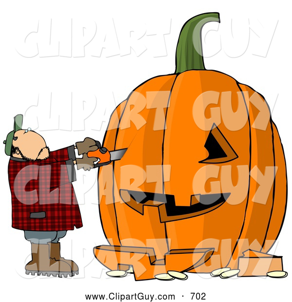 Clip Art of AMan Carving a Face into a Big Pumpkin Jack O Lantern for Halloween