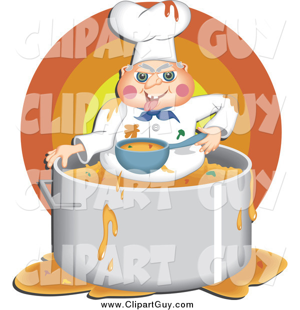 Clip Art of AMessy Chef Eating Food Inside His Pot
