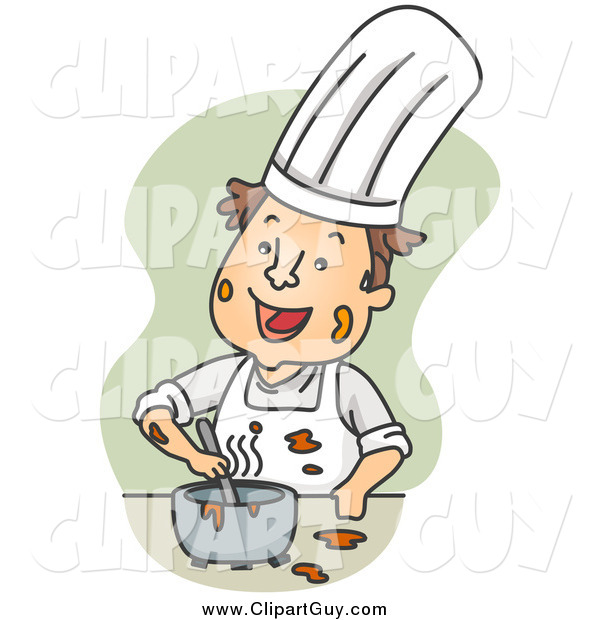Clip Art of AMessy Chef Mixing Ingredients over Green