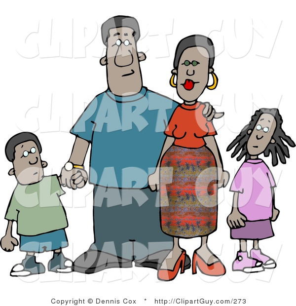 Clip Art of an African American Family Standing Together As a Group - Mother, Father, Son and Daughter