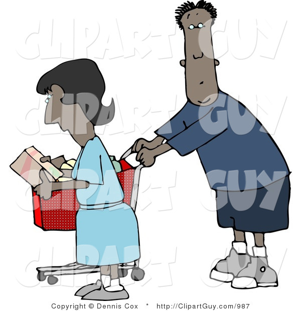 Clip Art of an African American Man and Woman Shopping Together in a Store