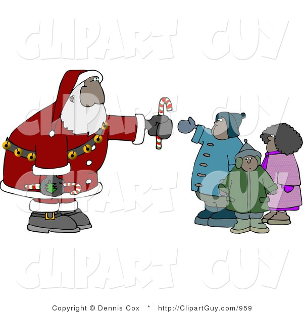Clip Art of an African American Santa Claus Man Handing out Candy Canes to a Group of Kids