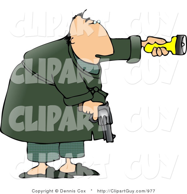 Clip Art of an Alert Man at Night, Pointing a Flashlight and Holding a Pistol for Protection