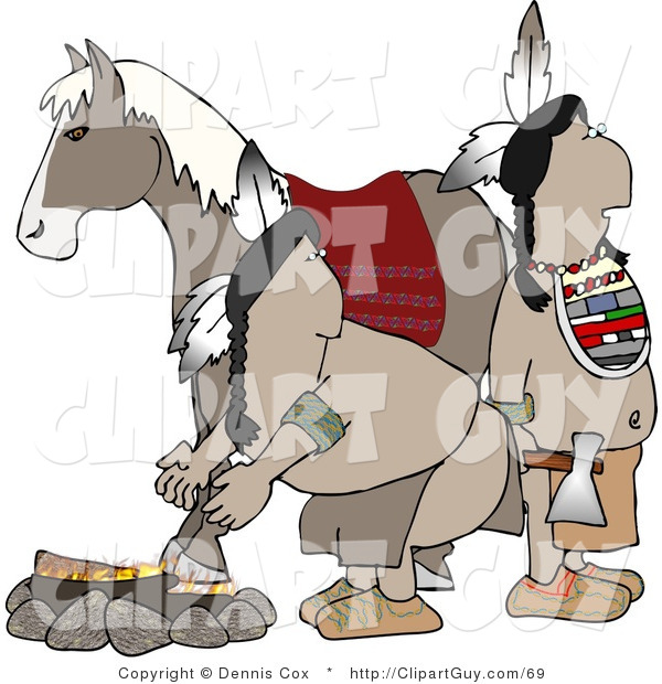 Clip Art of an Alert Pair of Native Americans Standing Beside a Campfire and Horse