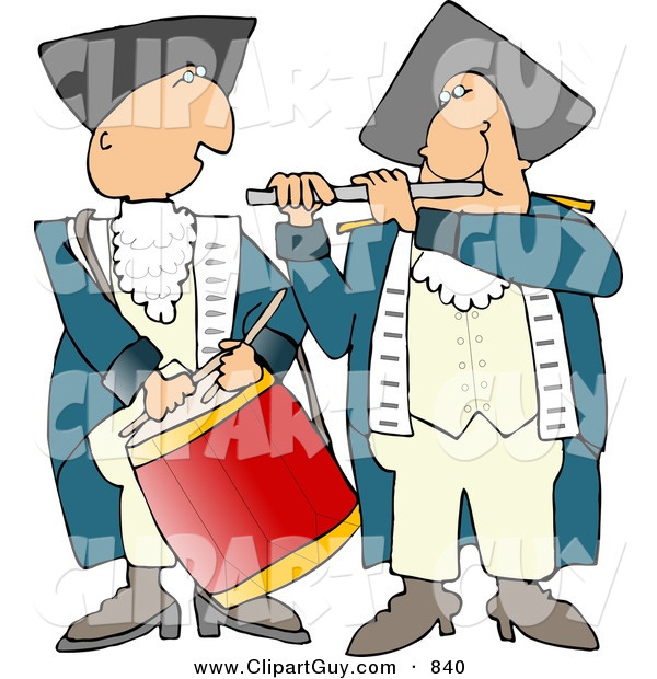 Clip Art of an American Revolutionary War Drummer and Flute Player Side by Side