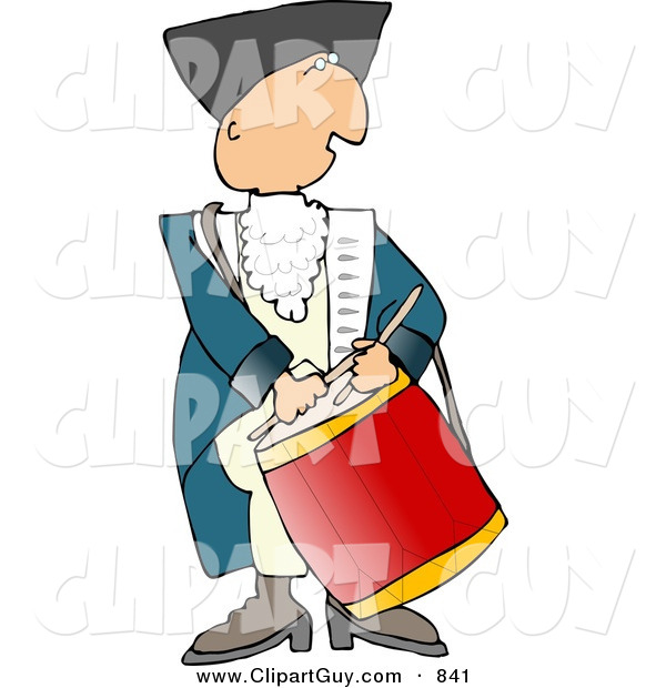 Clip Art of an American Revolutionary War Drummer on White