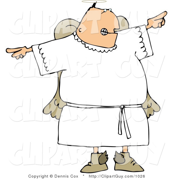 Clip Art of an Angry Male Angel Pointing Fingers in Opposite Directions