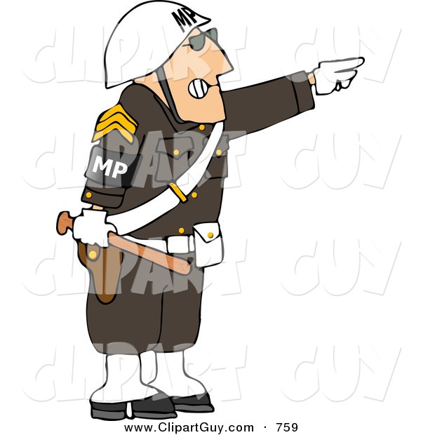 Clip Art of an Angry Male Military Police Officer Directing People to Move by Pointing His Finger to the Side